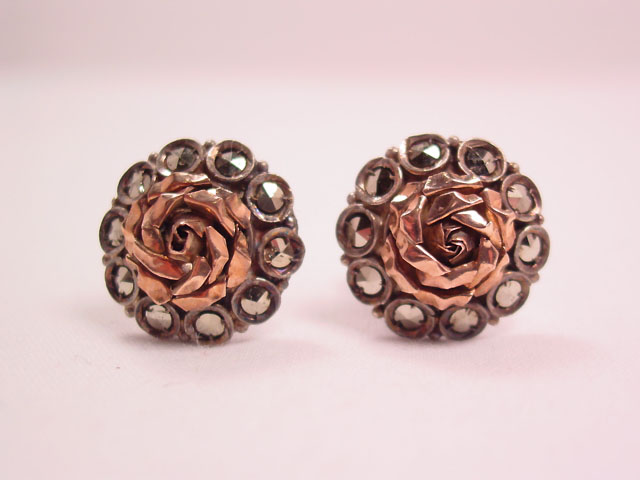 Silvertone and Goldtone Flower Earrings