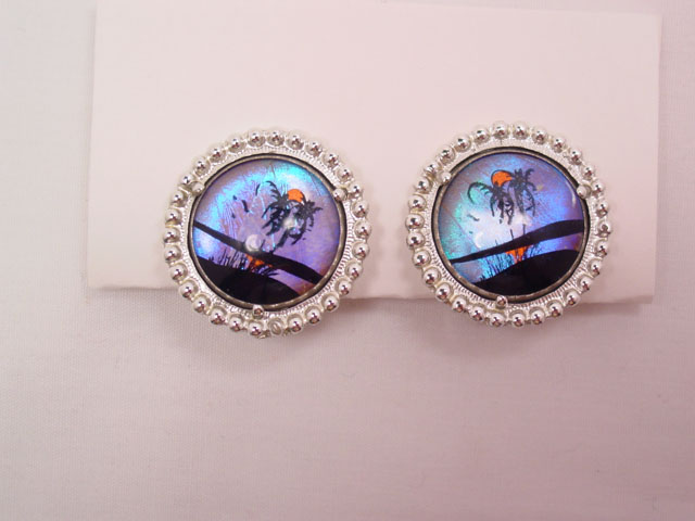 Double Palm Tree Round Butterfly Wing Earrings
