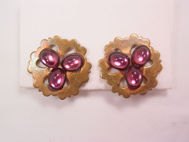 Brass and Purple Cabochon Earrings