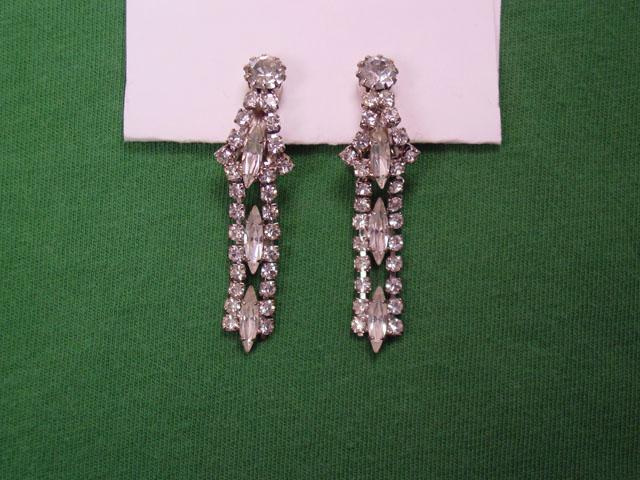 3-Marquis Long Dangling Rhinestone Earrings
