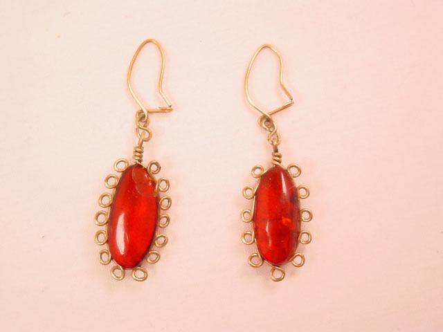Curly Wire Amber Earrings