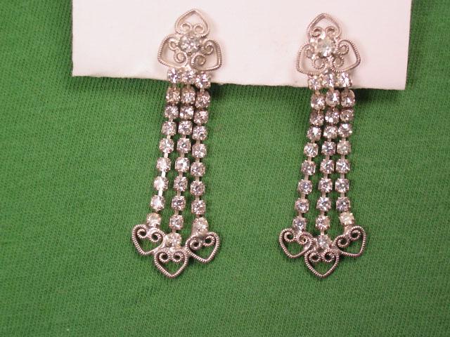 Clear Rhinestone Dangly Hearts Earrings