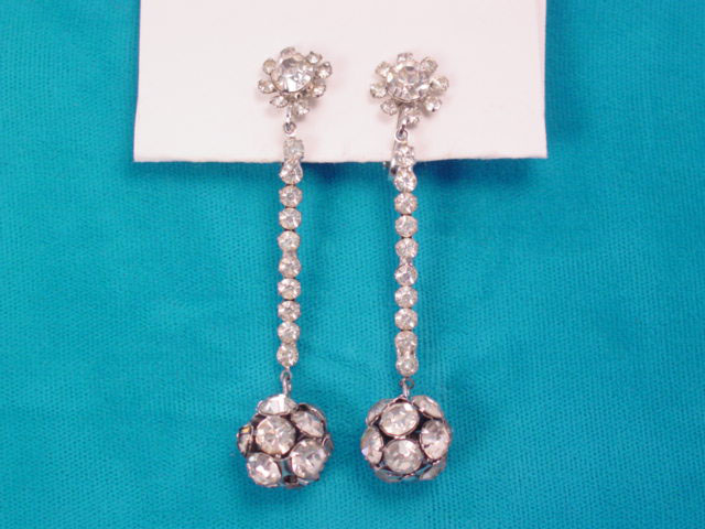 Ball and a Stick Dangling Rhinestone Earrings