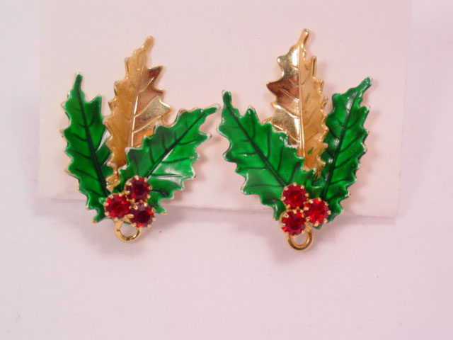Christmas Holly Leaf Earrings