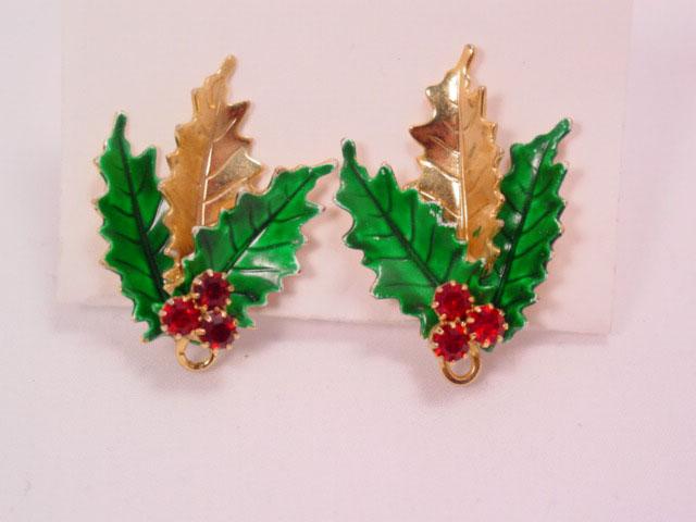 Christmas Holly Leaf Earrings
