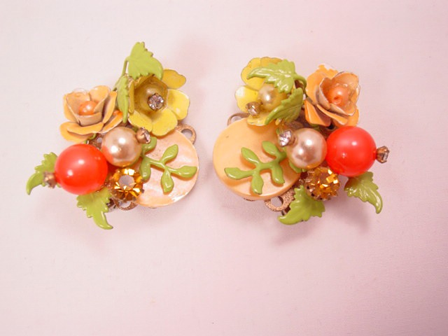 Spring Enamel Floral Spray Earrings