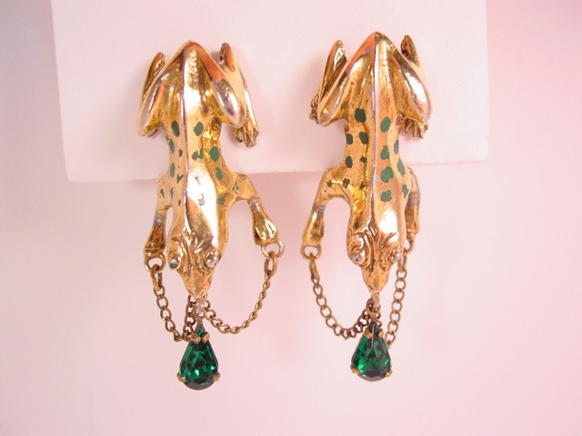 Unusual Old Frog Earrings