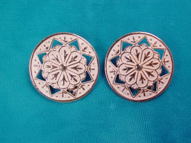 Stamped White Enamel Round Earrings