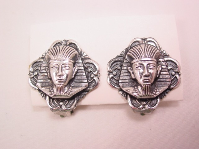 West German King Tut Aluminum Earrings