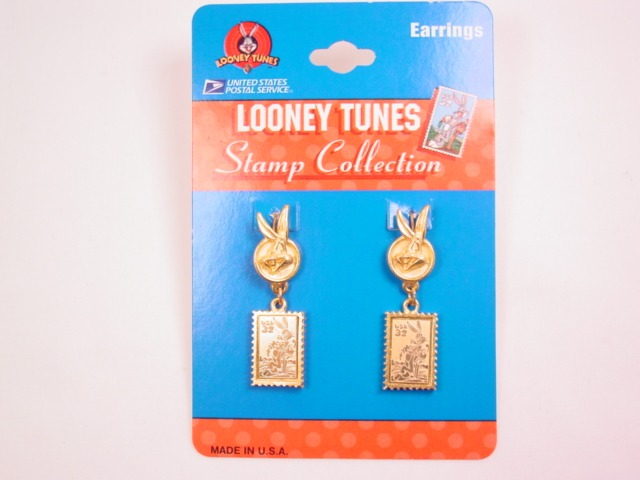 1997 Warner Bros. Bugs Bunny 32c Postage Stamp Dangling from Bugs Bunny Head Pierced Earrings
