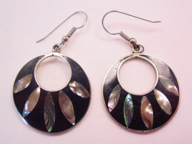 Wide Black Disk and Abalone Pierced Earrings