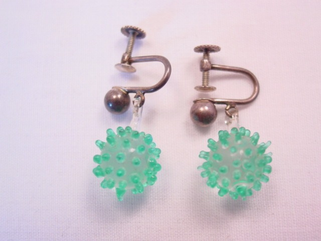 Glass Sea Urchin and Sterling Earrings