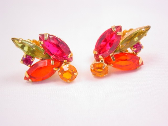 Vibrant Fall-Colored Rhinestone Earrings