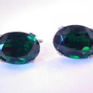 Huge Emerald-Green Oval Rhinestone and Sterling Earrings