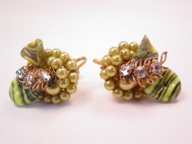 Olive Green Glass and Imitation Pearl Earrings