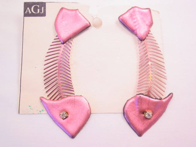 AGJ Pink Fish Skeleton Pierced Earrings