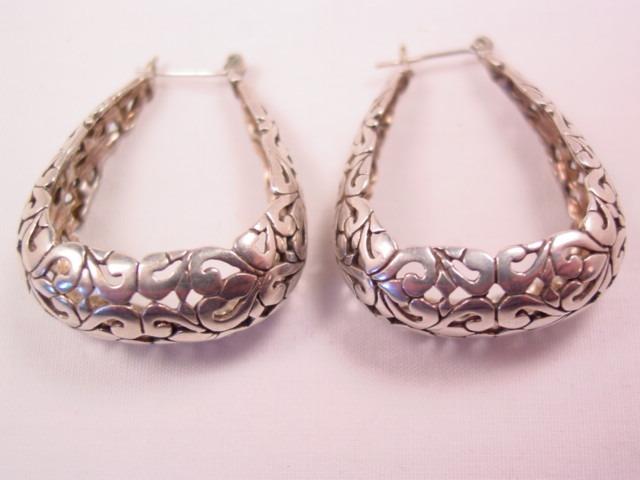 Beautiful Heavy Filigree Stiff Loop Pierced Sterling Earrings