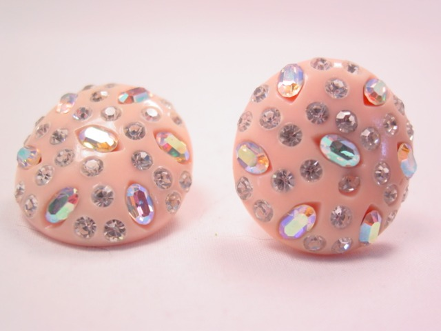 Weiss Pale Peach Plastic and Rhinestone Earrings