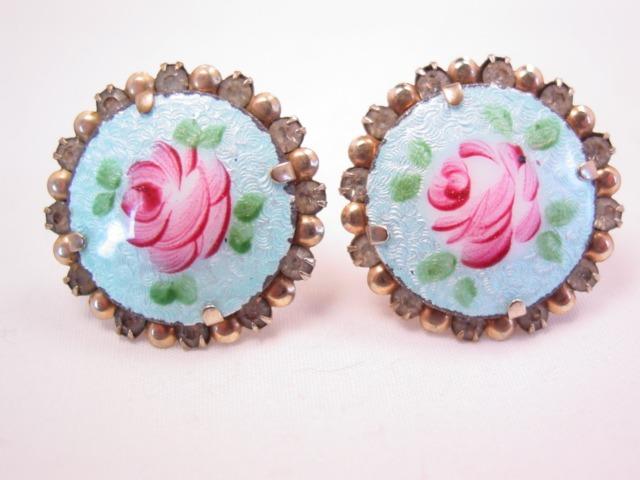 Enamel Rose on Blue Earrings