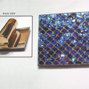 Blue glitter mirror and lipstick holder