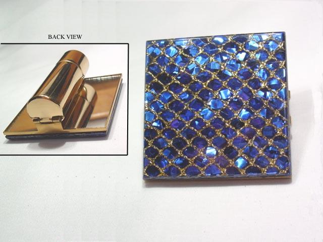 Blue glitter mirror and lipstick holder