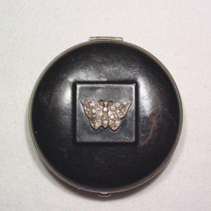 Black Enamel Butterfly Compact
