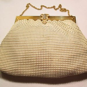 White Enameled and Rhinestone Whiting & Davis Purse