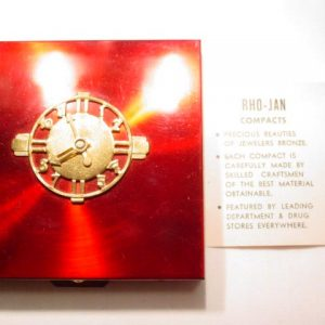 Rho-Jan Vanities Red Metallic Clock Compact