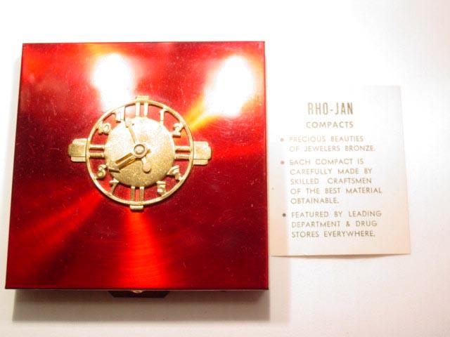 Rho-Jan Vanities Red Metallic Clock Compact