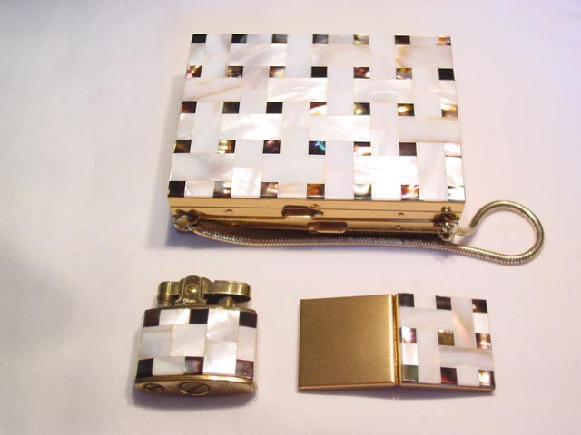 Mother of Pearl Basket Weave Patterned Purse, Picture Frame, and Lighter Set