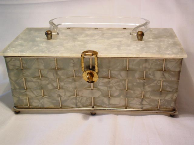 Pearlized Marble Plastic Rectangle Purse