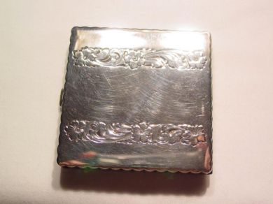 Floral Square Sterling Silver Compact