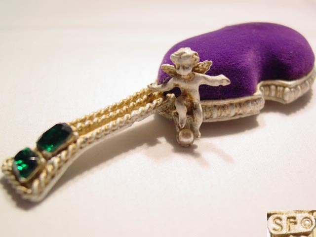 """SF"" Purple Velvet Violin Pin Cushion"