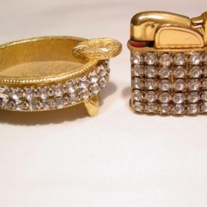 Evans Rhinestone Cigarette Lighter and Ashtray