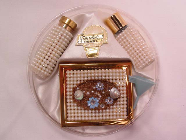 Beautiful Simulated Pearl Covered Accessory Set in Original Box