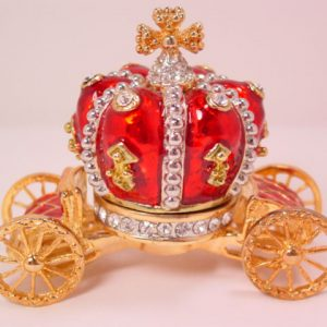 Red Enamel Crown Carriage Jewelry Box