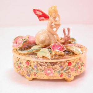 Kirks Folly Pixie Riding a Snail Jewelry Box in Original Box