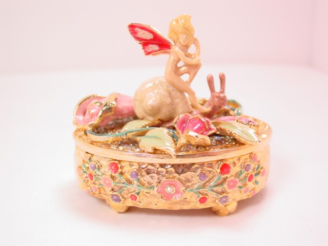 Kirks Folly Pixie Riding a Snail Jewelry Box in Original Box