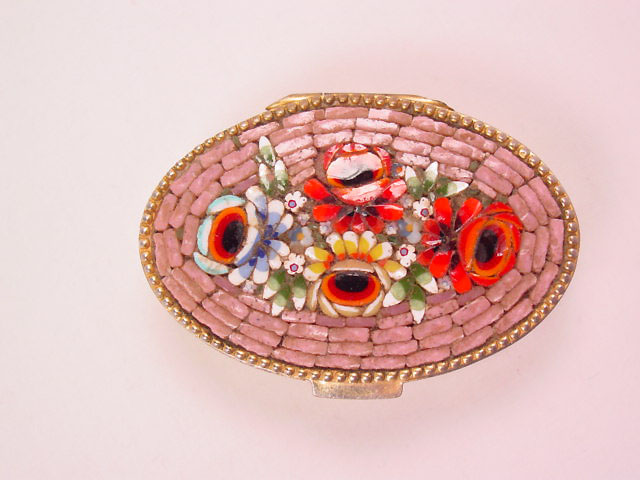 Red Roses on Lavender Background Italian Mosaic Box