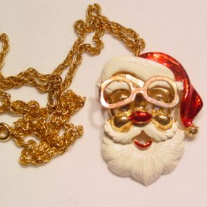 """FAB"" Enameled Santa Claus Pin/Necklace"