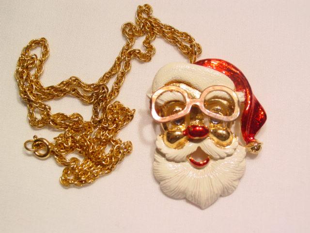 """FAB"" Enameled Santa Claus Pin/Necklace"
