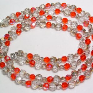Fiery Orange and Beige Aurora Borealis Necklace