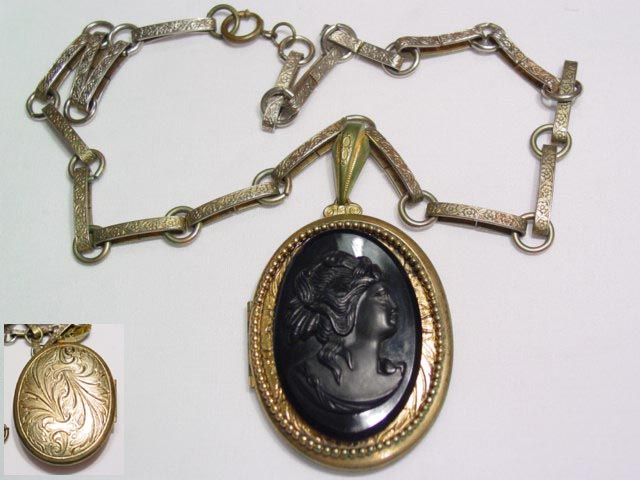 Old Black Plastic and Brass Locket Necklace