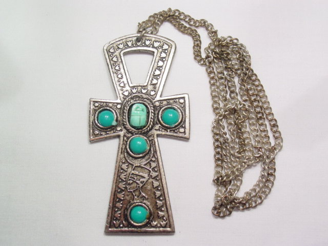 Scarab Cross Necklace