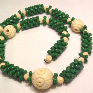 Old Green Glass and Bone Necklace