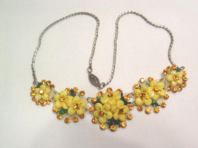 Unusual Shell and Topaz Colored Rhinestone Necklace