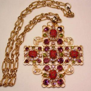 Wonderful Purple and Art Glass Maltese Cross Necklace
