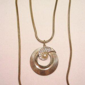 Boucher Rhinestone and Imitation Pearl Necklace