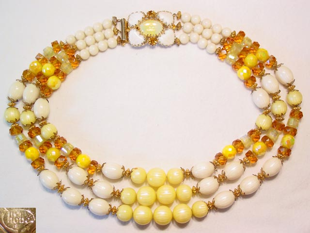 1957 Hobe Lemon Yellow Necklace