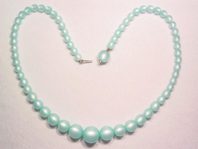 Baby Blue Moonglow Lucite Necklace